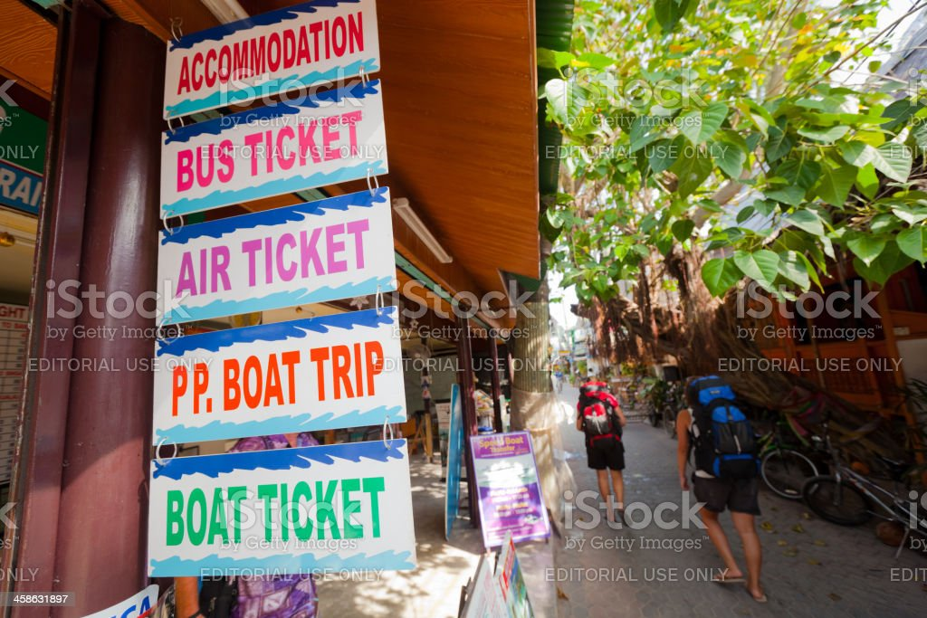 Backpackers traveling in Thailand stock photo