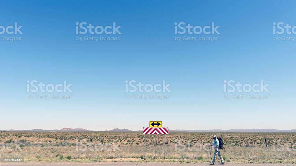 Backpacking across New Mexico stock photo