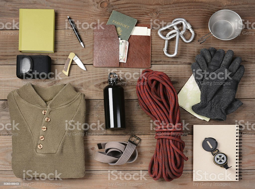 Backpacking Gear stock photo