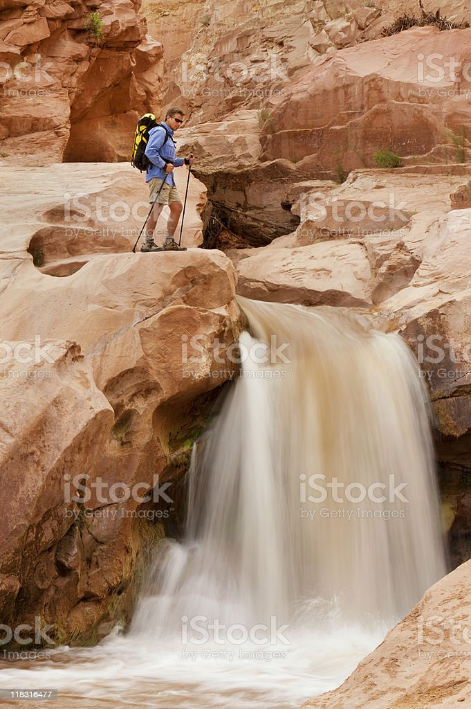 Backpacking In Capitol Reef National Park stock photo