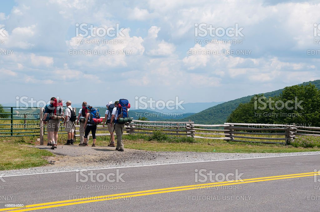 Backpacking in Grayson Highlands State Park, Virginia stock photo