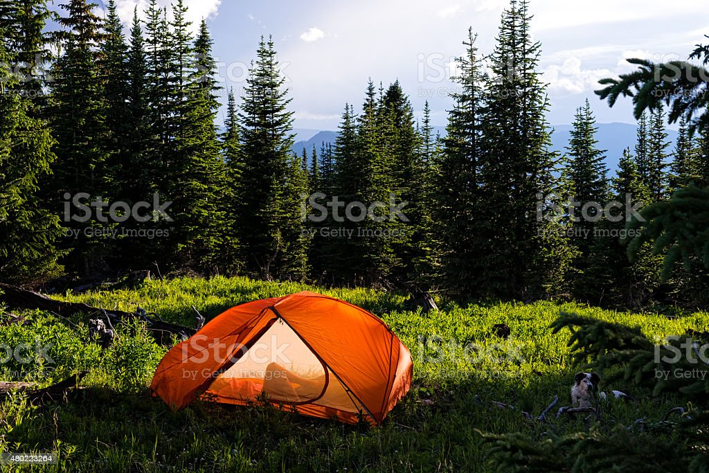 Backpacking in Mountains Summer stock photo
