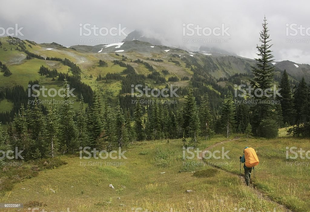 Backpacking in Signing Pass royalty-free stock photo