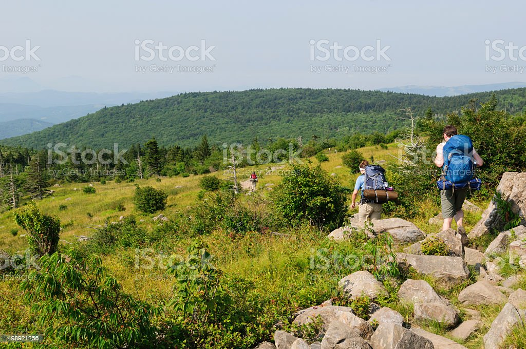 Backpacking on the Appalachian Trail in southwest Virginia stock photo