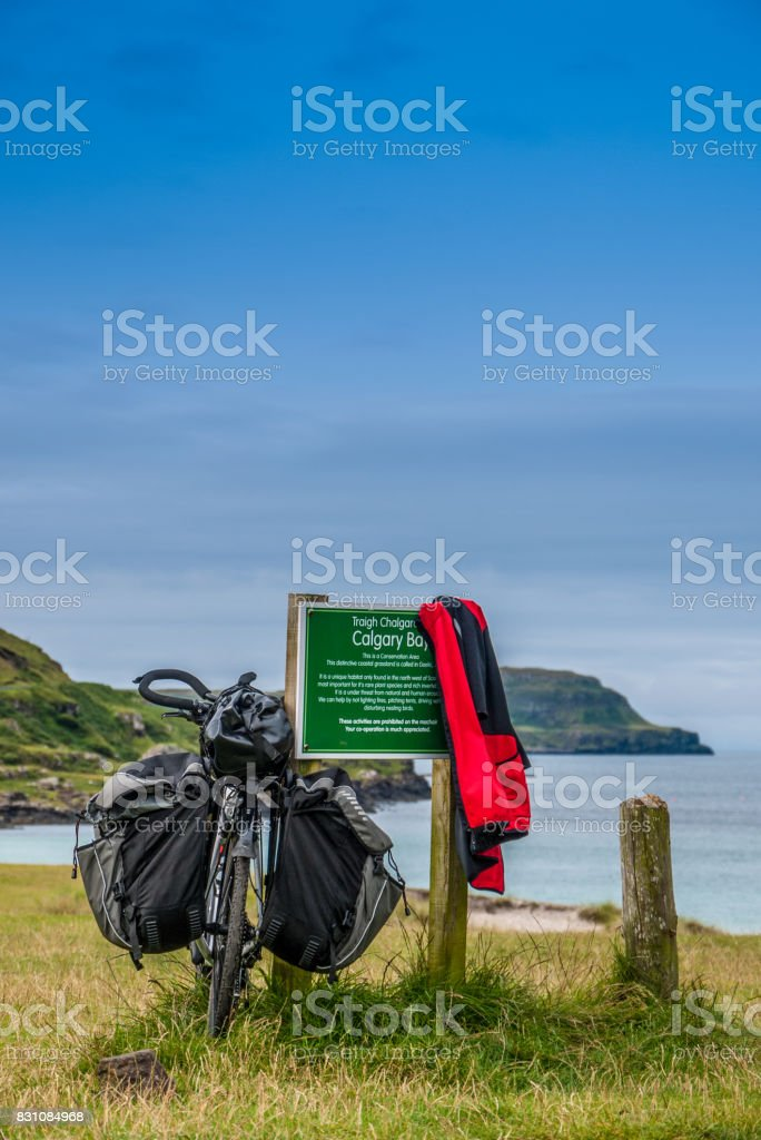 Backpacking travel on bike stock photo