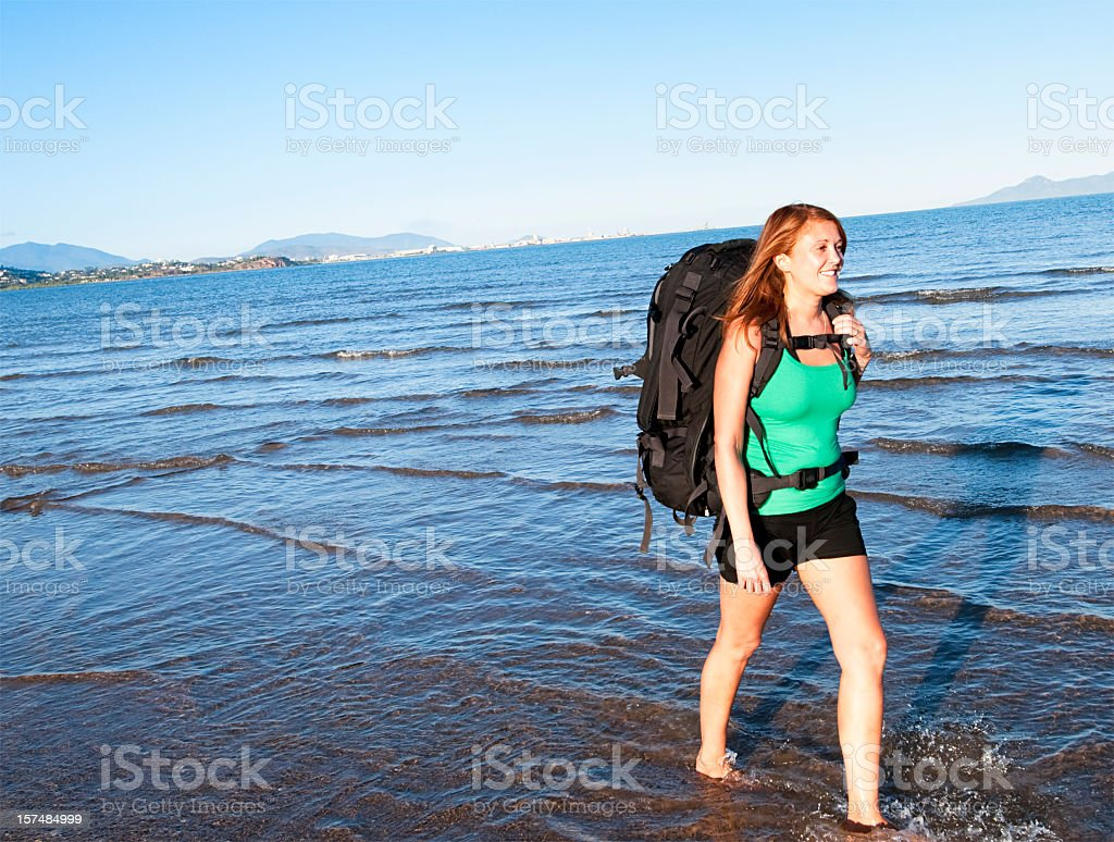 Backpacking Woman On The Move stock photo