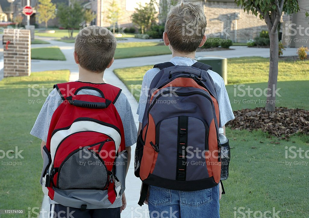 Backpacks - Walking to School royalty-free stock photo