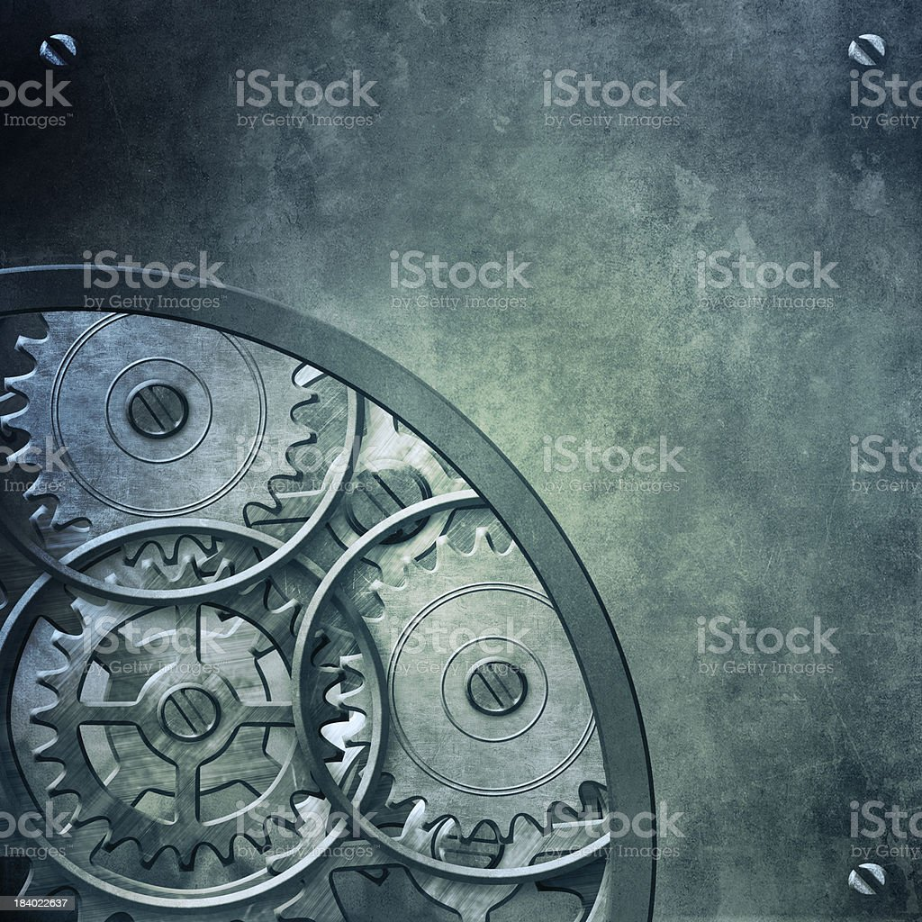 Backround with metal gears and cogwheels royalty-free stock photo
