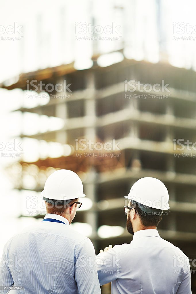 Backs of architects stock photo