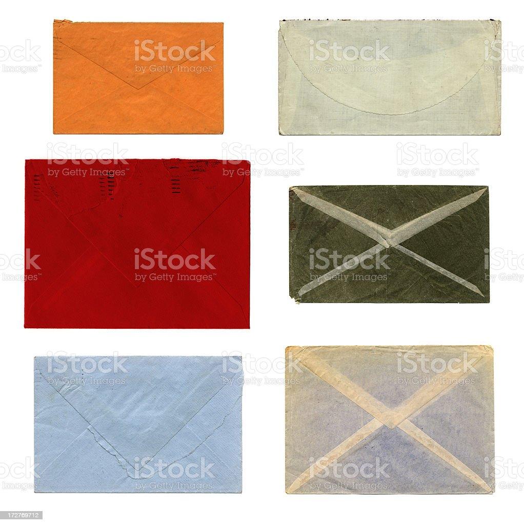 Backs of colourful envelopes royalty-free stock photo
