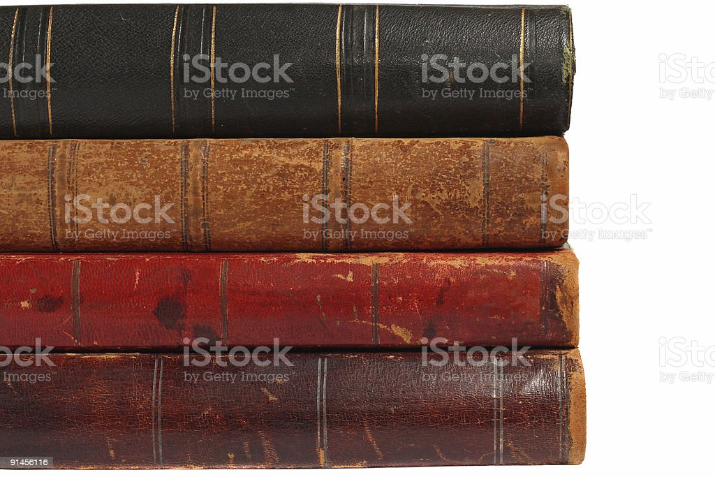 Backs of four old books royalty-free stock photo
