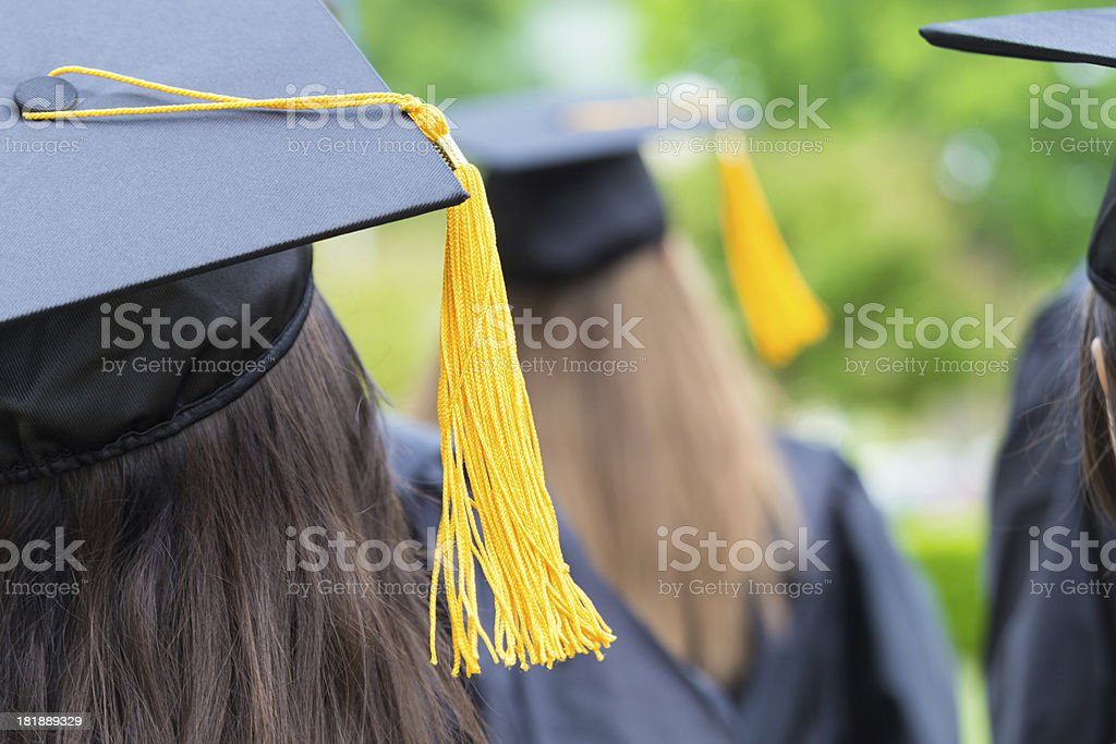 Backs of graduates in lines at commencement ceremony royalty-free stock photo