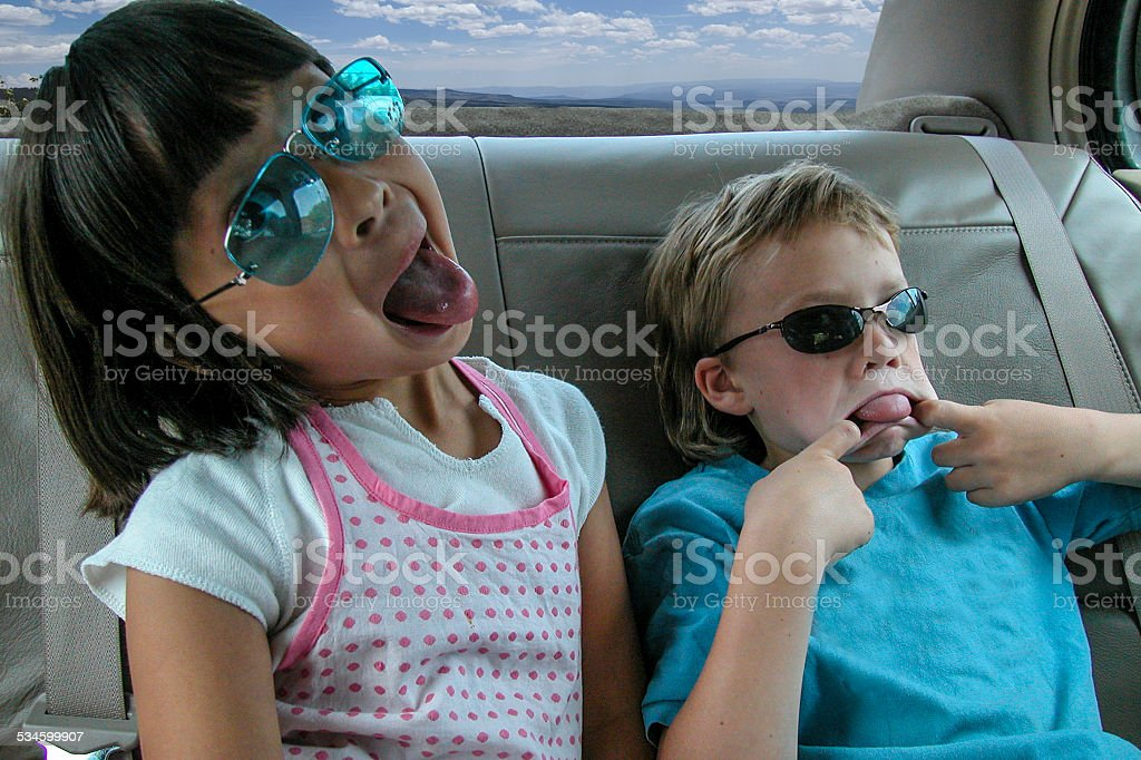 Backseat Sillyness stock photo