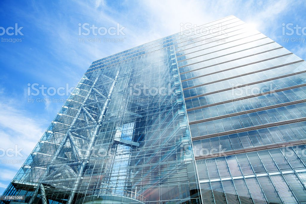 Backside and glassy facade of Stadttor D?sseldorf stock photo