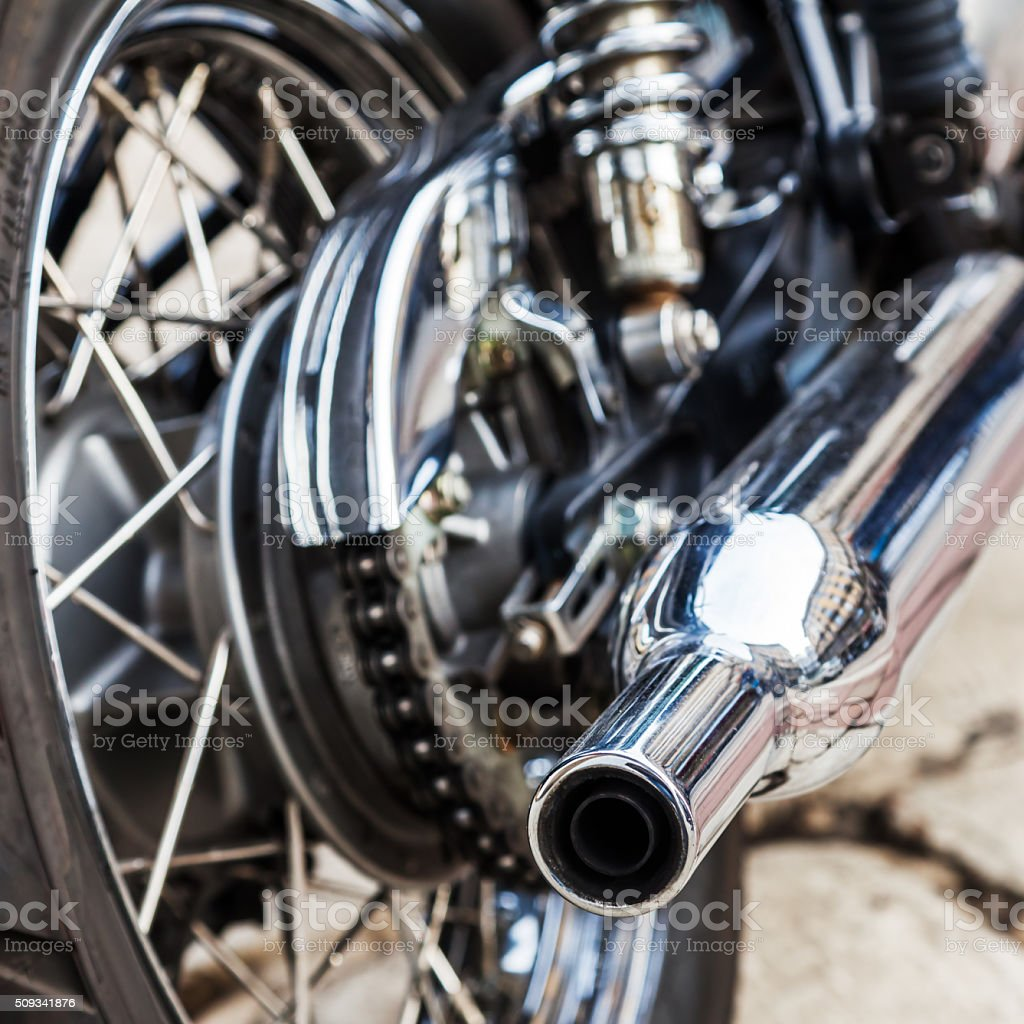 backside of a classical motorcycle stock photo