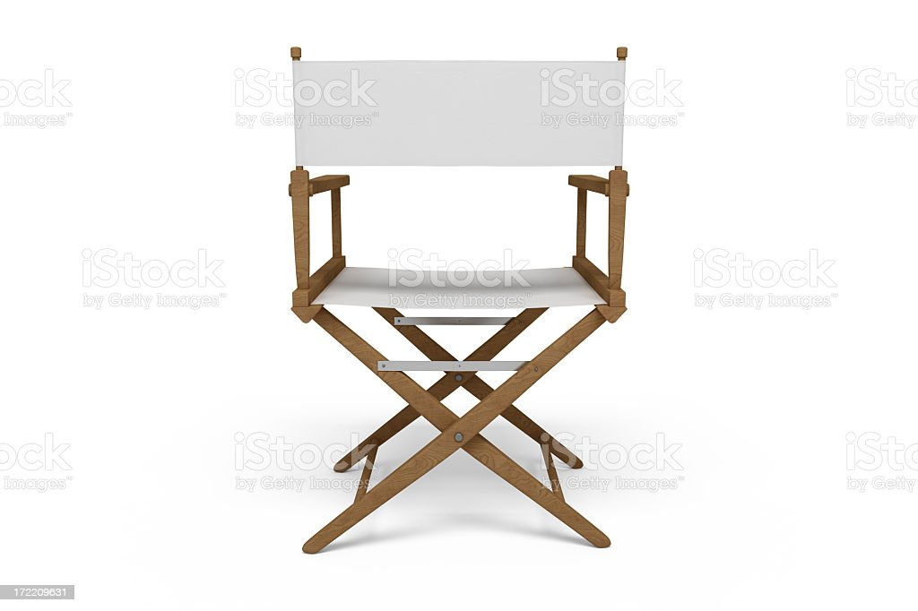 Backside of a Director's Chair - Wooden / White (Isolated) stock photo