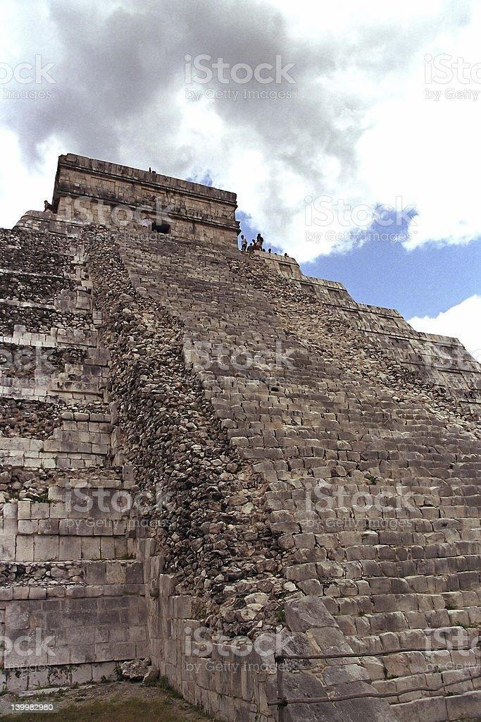 Backside of Chichen Itza pyramid royalty-free stock photo