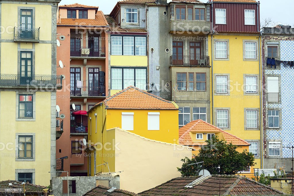 Backside of facades in Porto royalty-free stock photo