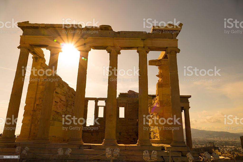 Backside of the Erechtheion temple, Acropolis, Athens, Greece stock photo
