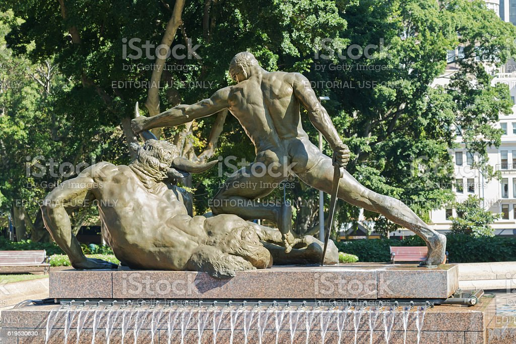 Backside of Theseus and Minotaur at Archibald Memorial Fountain, Sydney stock photo
