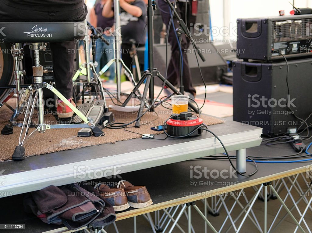 Backstage at a live music festival in the UK stock photo