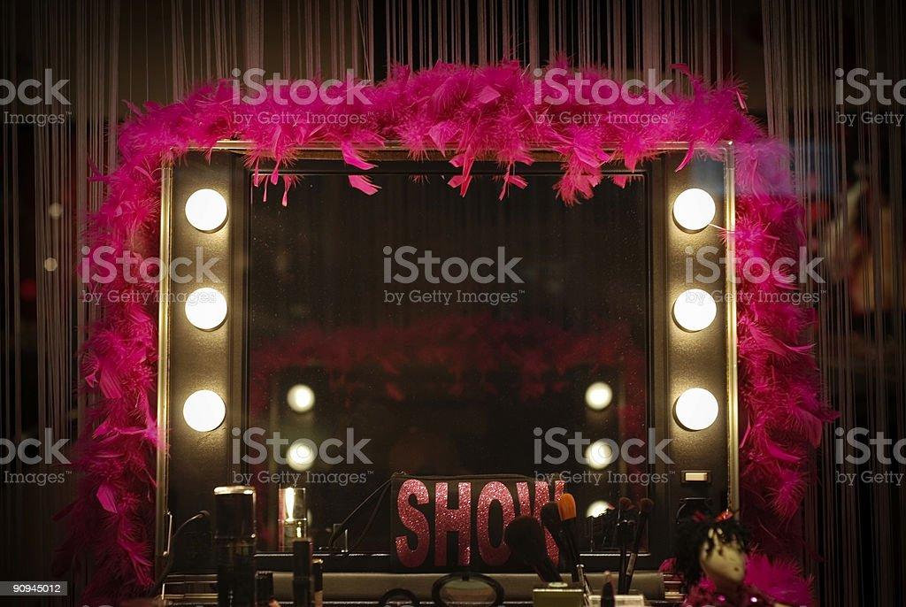 Backstage mirror stock photo