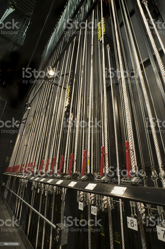 Backstage Rigging for Theater royalty-free stock photo