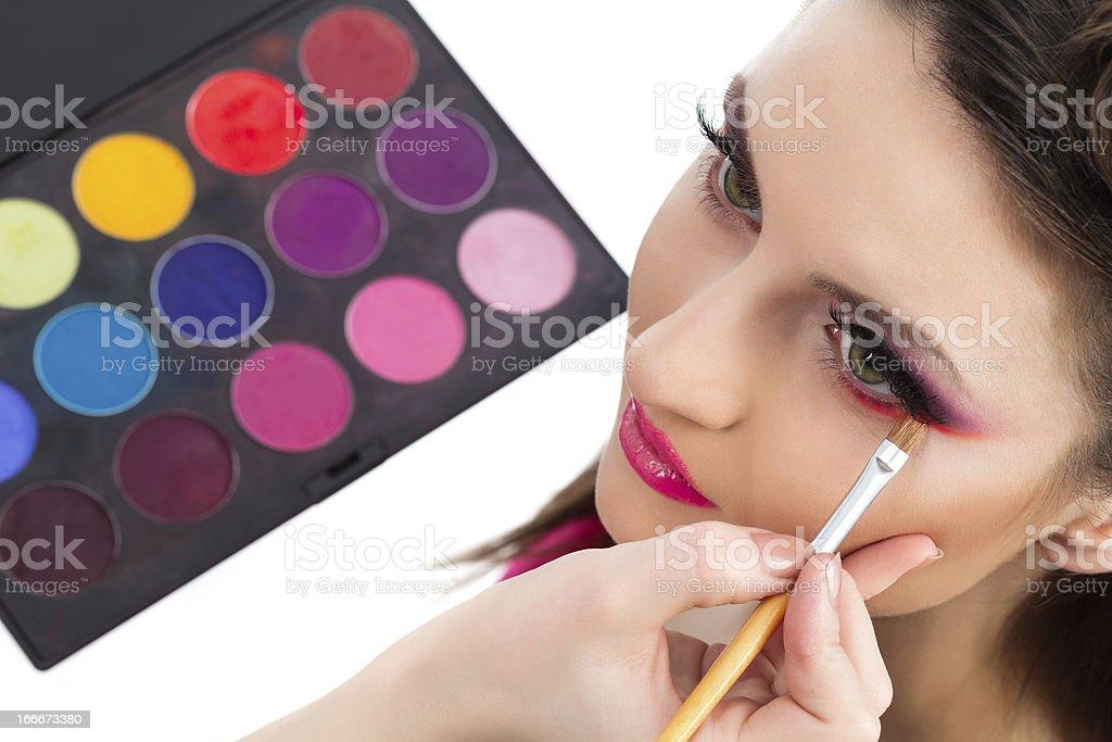 Backstage scene: Professional Make-up royalty-free stock photo