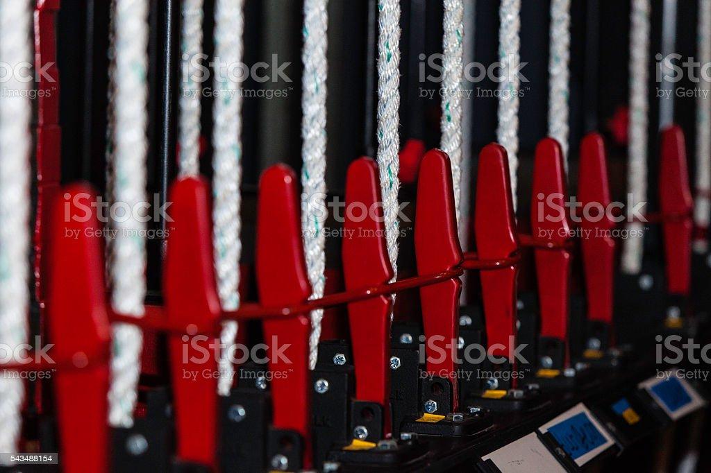 Backstage theatre rigging stock photo