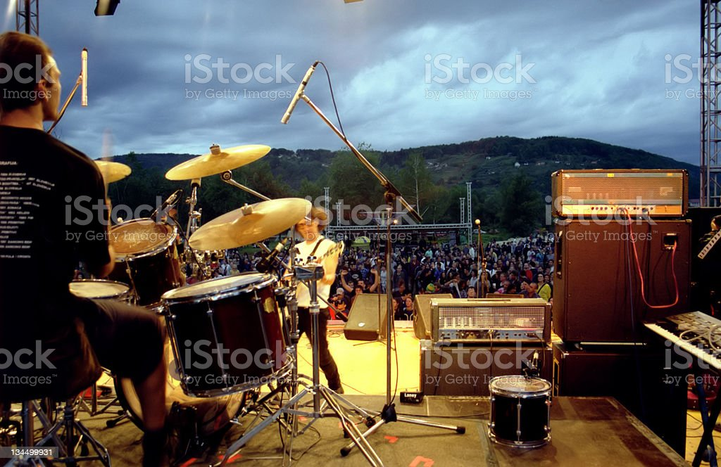Backstage view of a rock concert stock photo