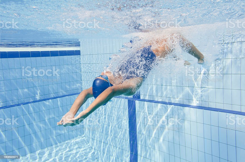 Backstroke swimming start stock photo