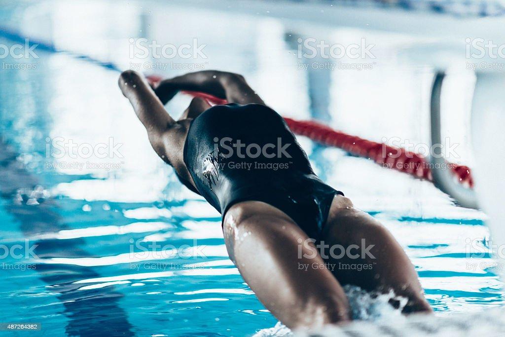 Backstroke Swimming Start stock photo