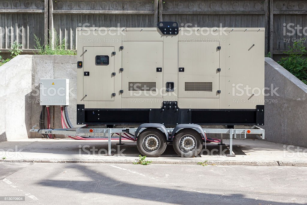 Backup Generator for Office Building connected to the Control Panel stock photo