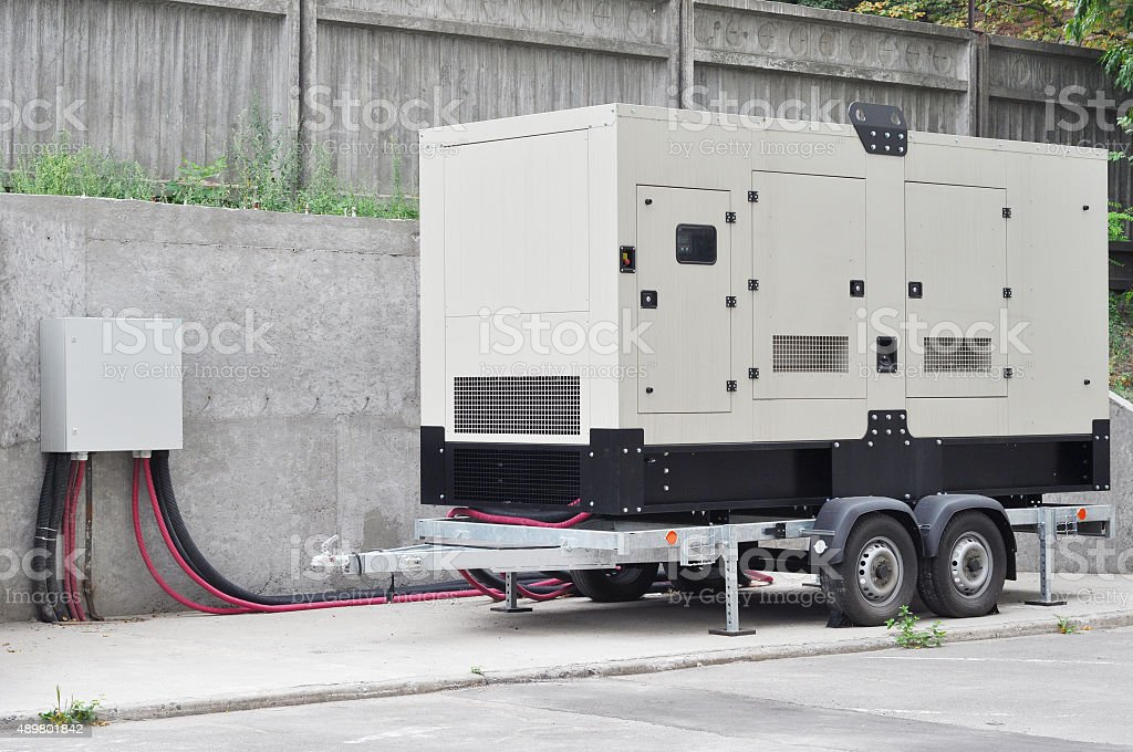 Backup Generator for Office Building Сonnected to the Control Panel stock photo