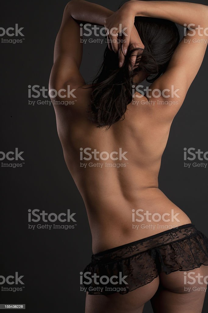 Backview of topless model royalty-free stock photo