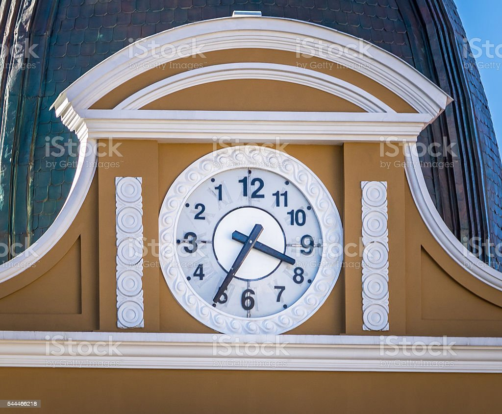 Backwards clock of Bolivian Palace of Government stock photo