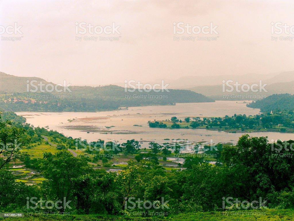 Backwater of Khadakwasla dam, Pune, Maharashtra, India stock photo