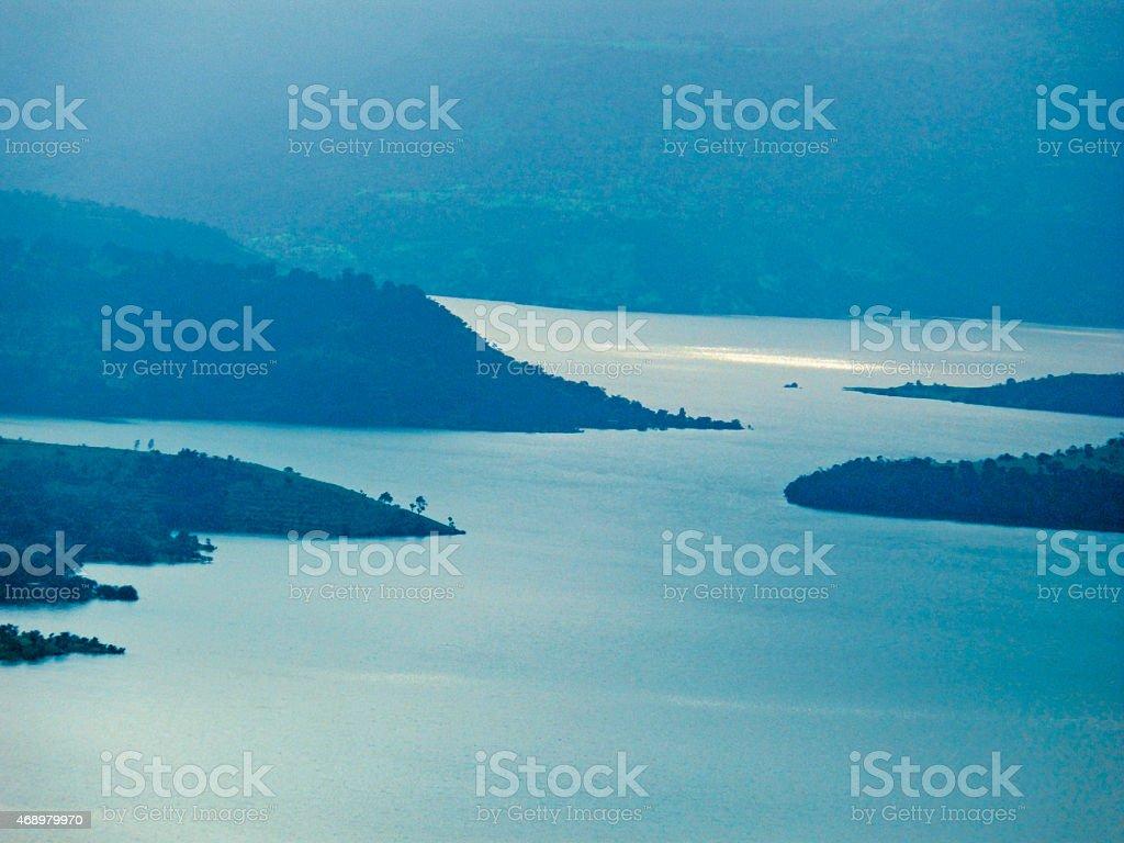 Backwater of Panshet dam, Pune, Maharashtra, India stock photo