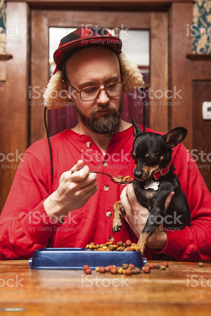 Backwoods Man Spoonfeeds Small Dog Kibble at Kitchen Table 2 stock photo