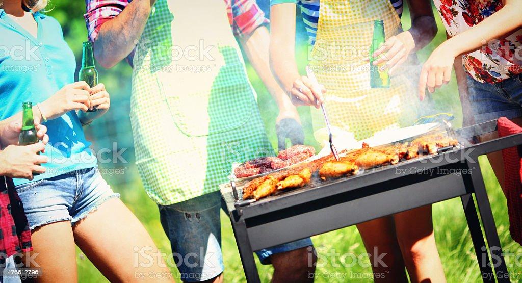 Backyard barbecue party. stock photo