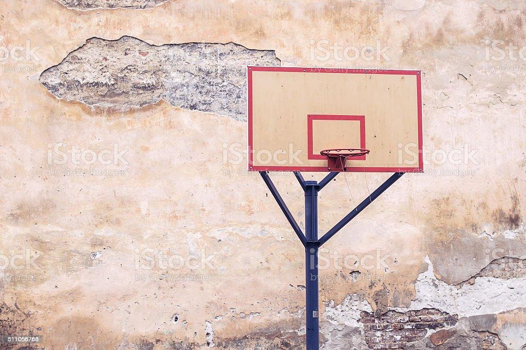 Backyard basketball court stock photo