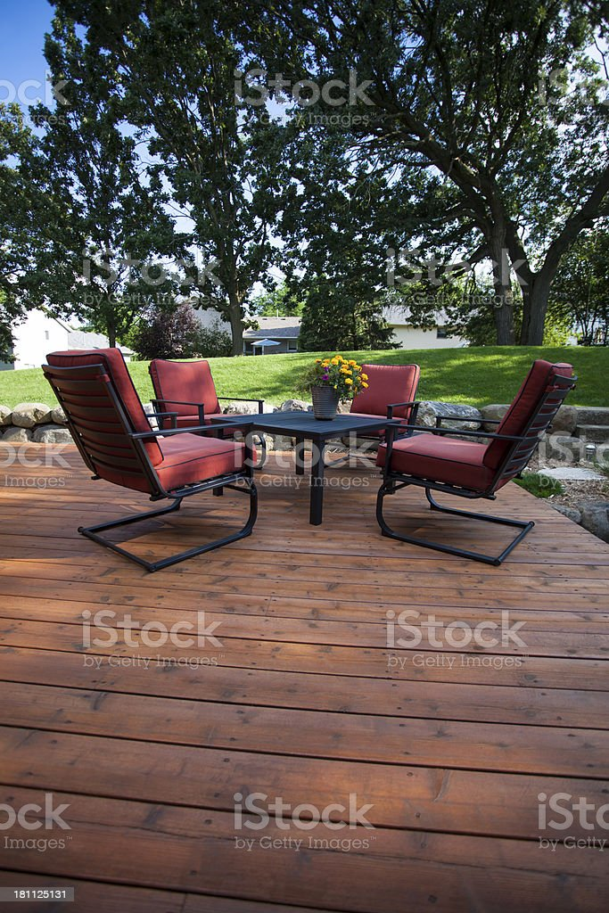 Backyard Deck and Chairs stock photo