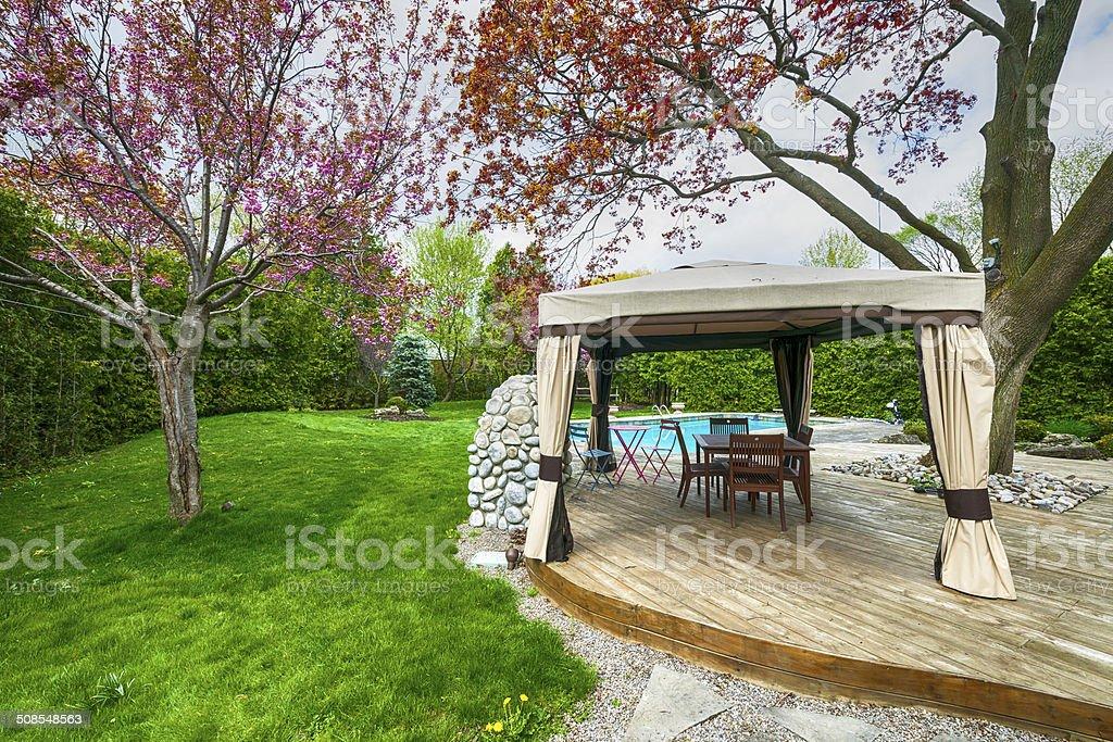 Backyard deck and gazebo stock photo