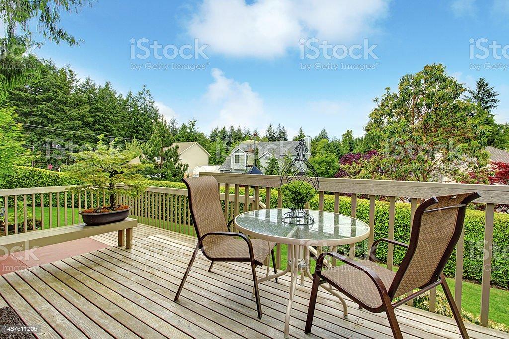 Backyard deck view. stock photo