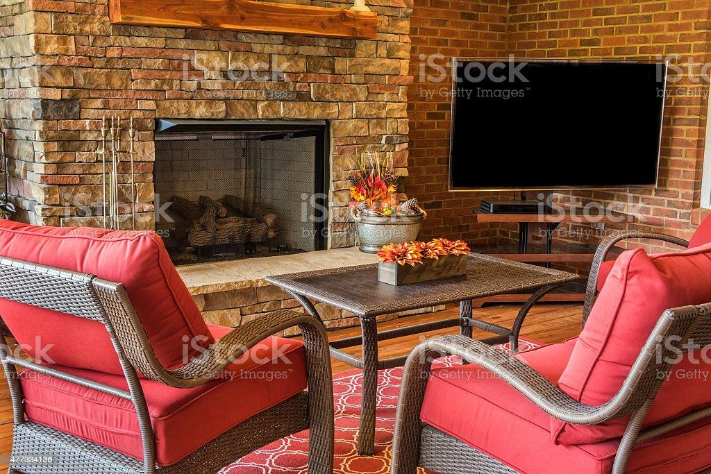 Backyard Deck with Fireplace stock photo