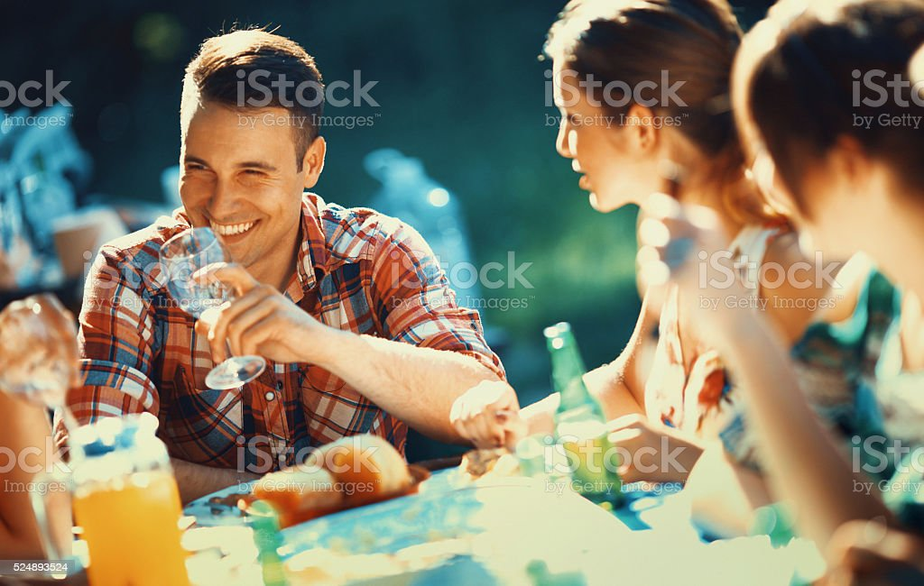 Backyard dinner party. stock photo