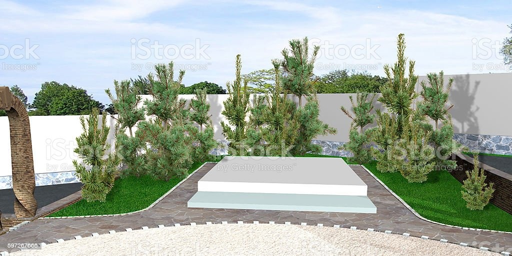 Backyard horticultural background, 3d render stock photo