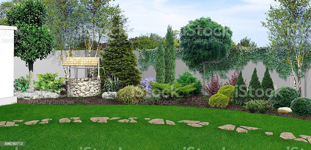 Backyard horticultural background, 3d render stock photo