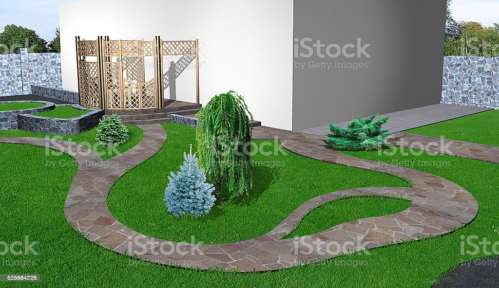 Backyard horticultural background, 3d rendering stock photo