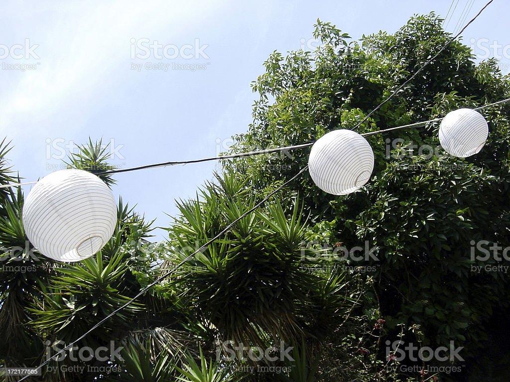 backyard lanterns royalty-free stock photo